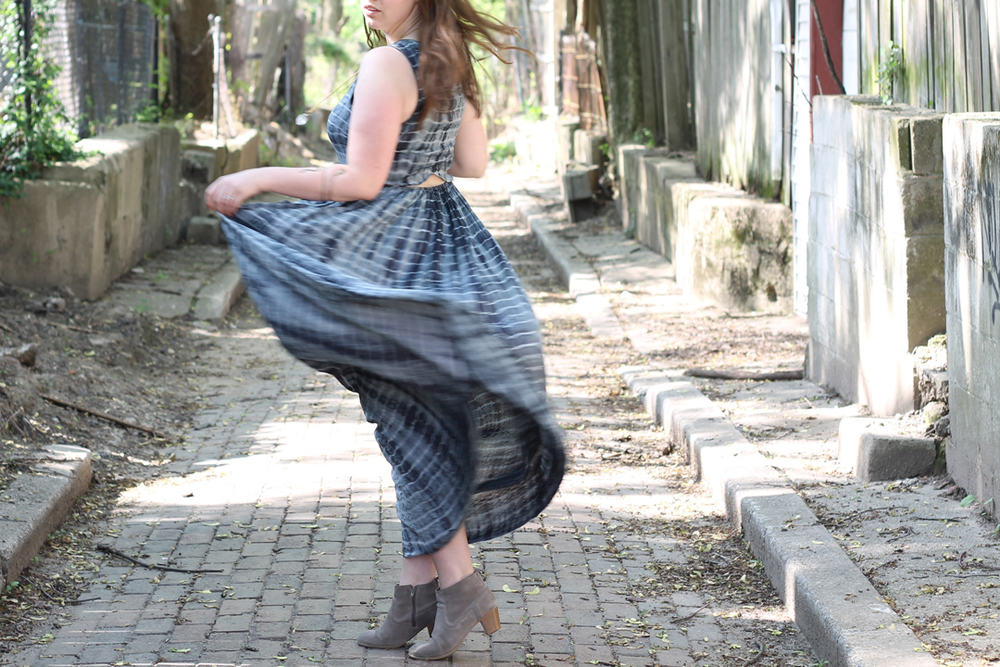 Shibori maxi dress anthropologie