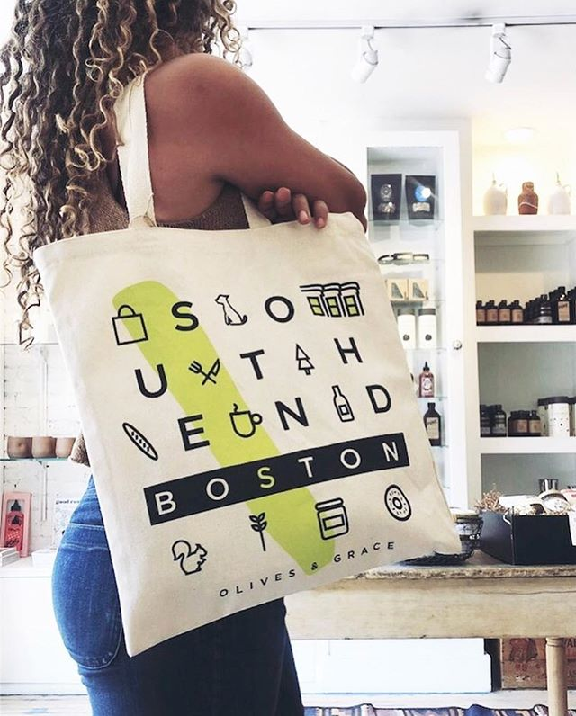 Have you seen these amazing reusable #SouthEnd totes at @olivesandgrace? They're perfect for strolling around the neighborhood this weekend (8/24-26) for the annual Sidewalk Sale! Join over 30 of your favorite local businesses who will be out on the sidewalks showing off what makes this community so special!