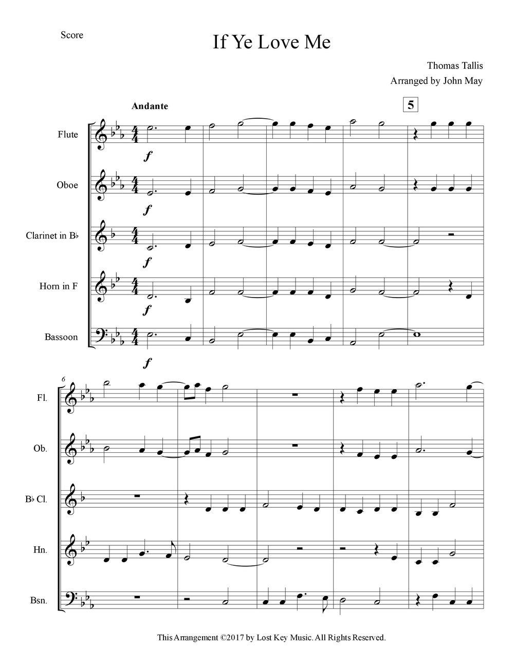 If Ye Love Me-Woodwind Quintet-Score Sample.jpg