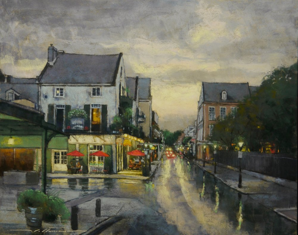 "Evening Reflections in the French Market. Original pastel. 24 x 30""."