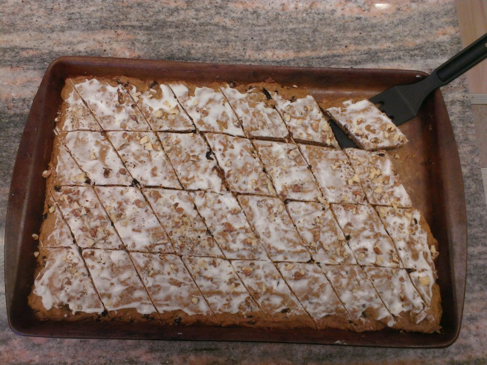 Applesauce Cake made into frosted, diamond shape bar cookies