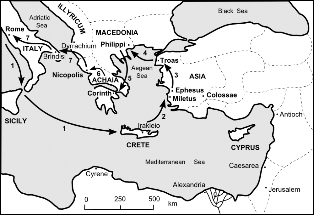 Paul's probable fifth journey, based on references in 1 Timothy, Titus, and 2 Timothy.