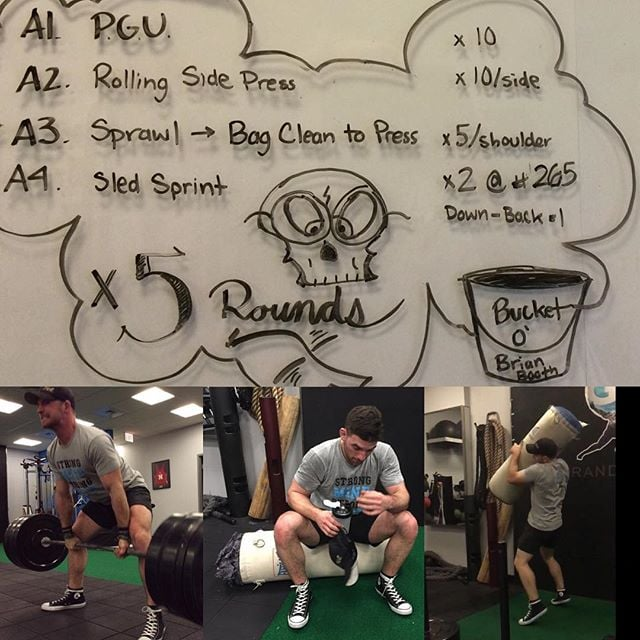 Ross doing a program written by @ryan_theren . Even coaches need coaching! #strength #conditioning #wrestlingtraining #deadlifts #metcon #rossishurting #strongmindstrongbody