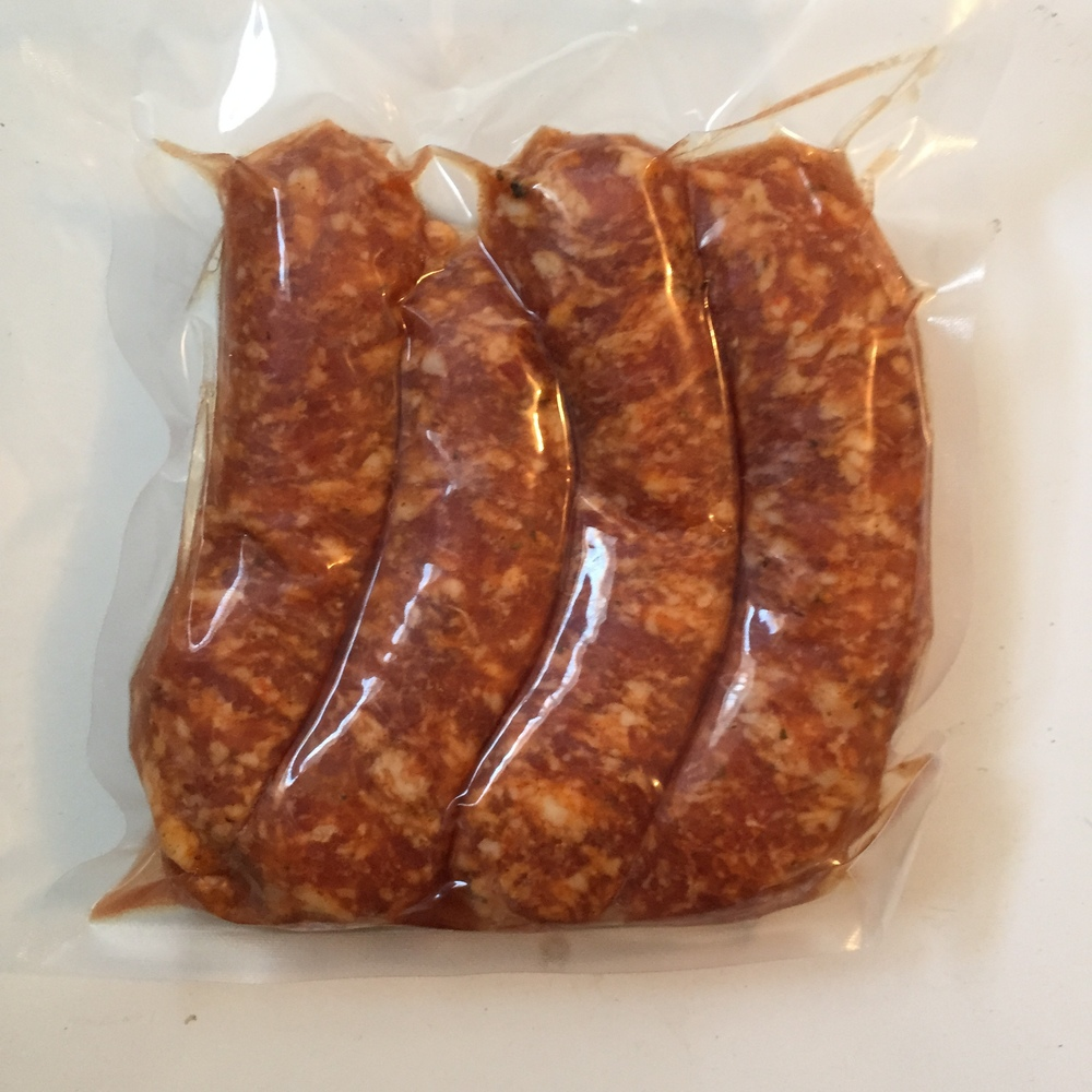 Hot Italian sausages - $8.50/lb, 4 sausages per package, average of 0.8 pounds