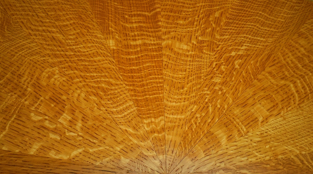 Sunburst pattern tabletop, quartersawn white oak