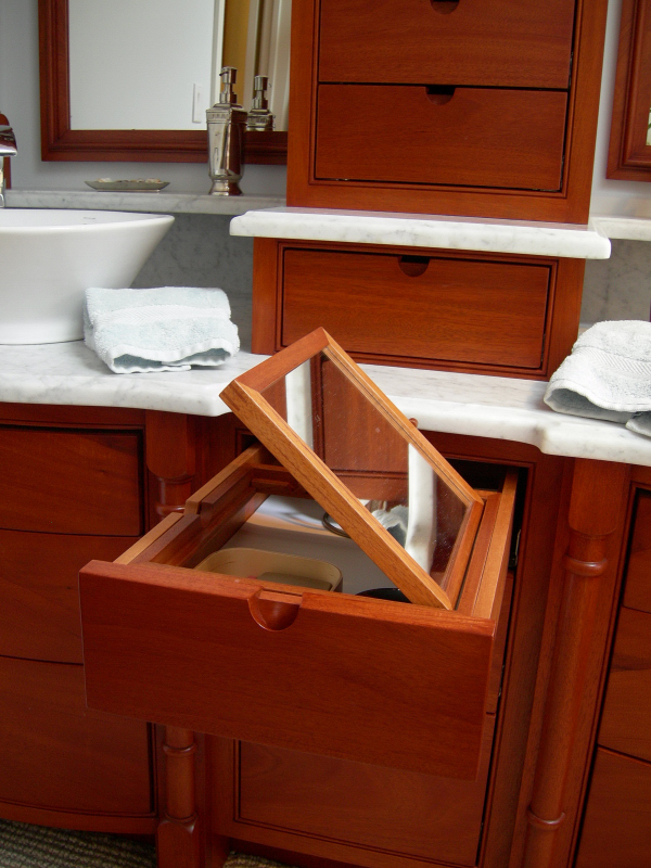 Built-in vanity mirror