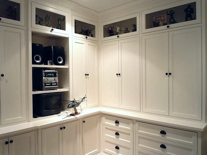 Adjoining built in office storage cabinets