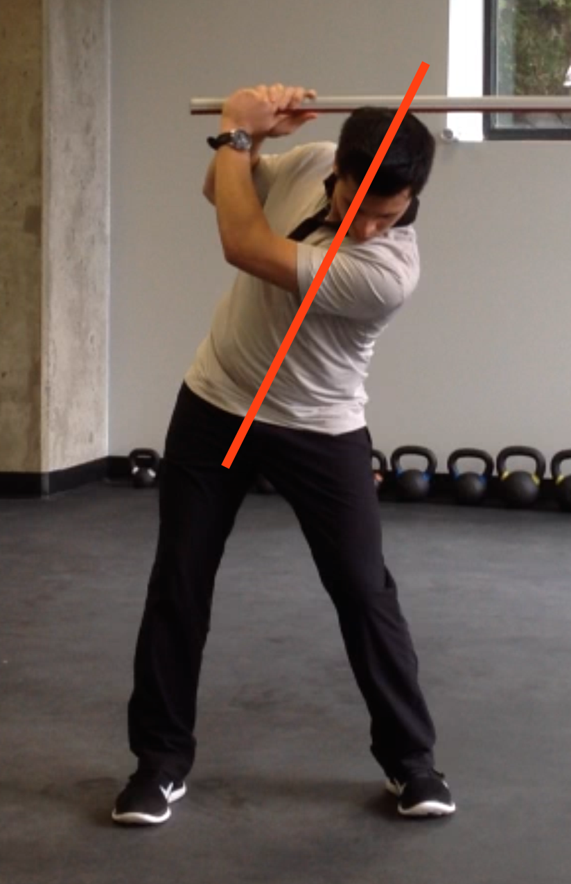 Example of reverse spine angle. Notice how I am leaning towards the target.