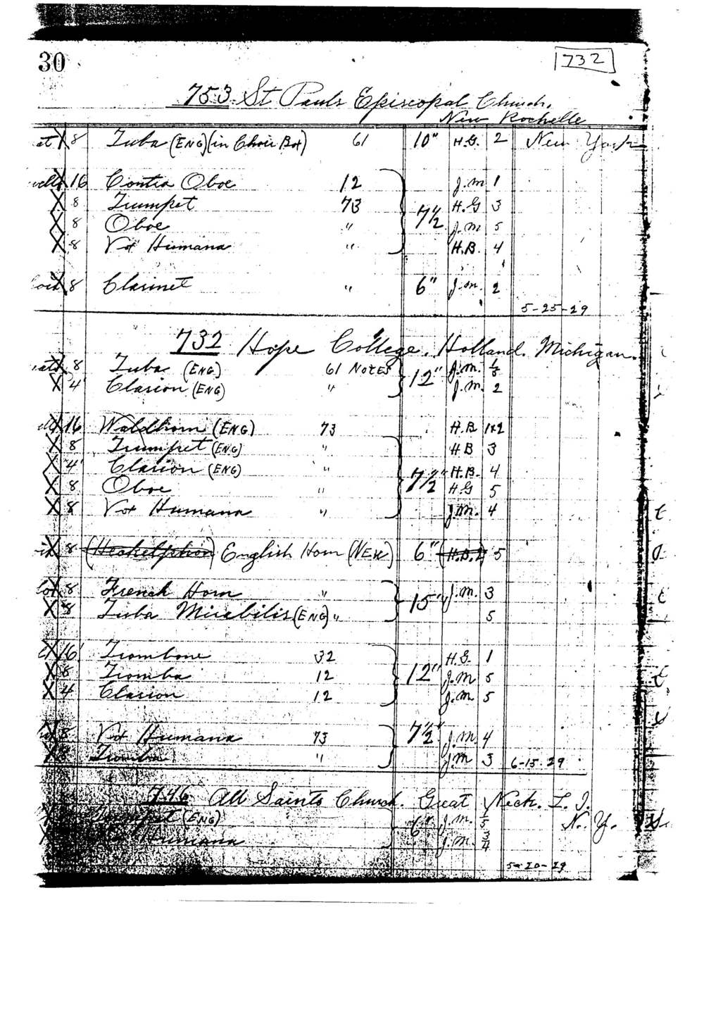 Whenever possible, we consult the original builder's records. Not only is this data useful for restoring damaged pipework, it has also allowed us to accurately reproduce entire ranks of missing pipework. Thanks to Allen Kinzey, many of these documents from the Skinner Organ Company have been preserved.