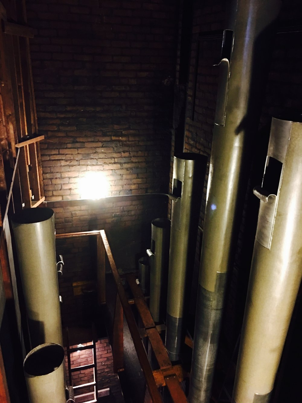 Tops of the largest 32' Bombarde pipes