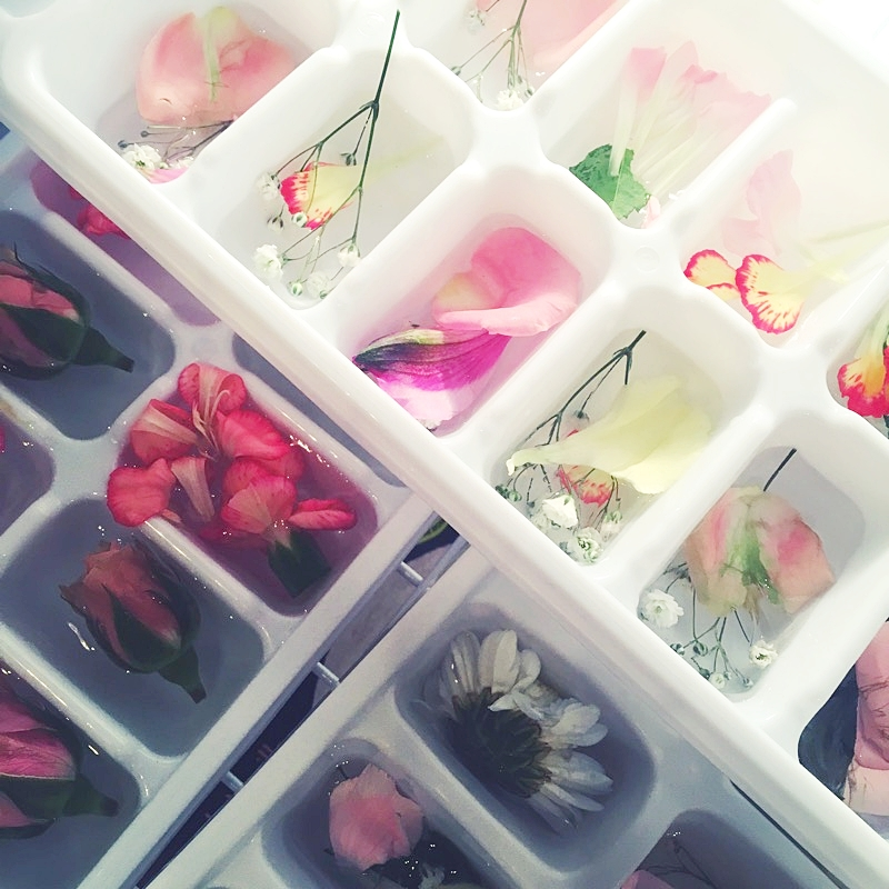 Floral Ice Cubes - Boil distilled water then let it cool. Add water to ice cube trays filling half way, add edible flower facing down and freeze. Add more water to fill tray and freeze. Boom! You've got frozen blooms. If you can't find edible flowers, use roses, violets, pansies, nasturtiums, calendula, daylilies or lavener. Just be cautious that the flowers you are using haven't been sprayed with pesticide so none of your guests get sick!