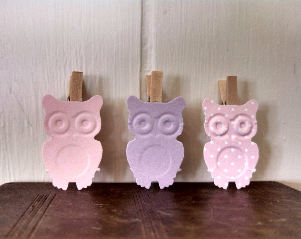 Amazing Mini Owl Clothes Pins Baby Shower Party Favors Purple Pink Set Of 12  Nursery Decor Gift Tag Party Clips Polka Dots Clothespins