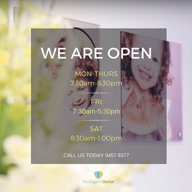 We are open almost all the time so we can see you and your family when you need it most! But if you do catch us after hours, leave us a message and we'll call you back first thing the next day ✨ 9457 8377