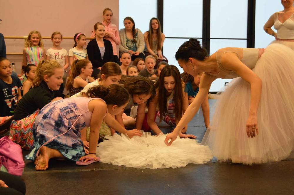 Curious children counting the many layers of tulle it takes to make a tutu.  *photo by Kelly Curran McCarthy