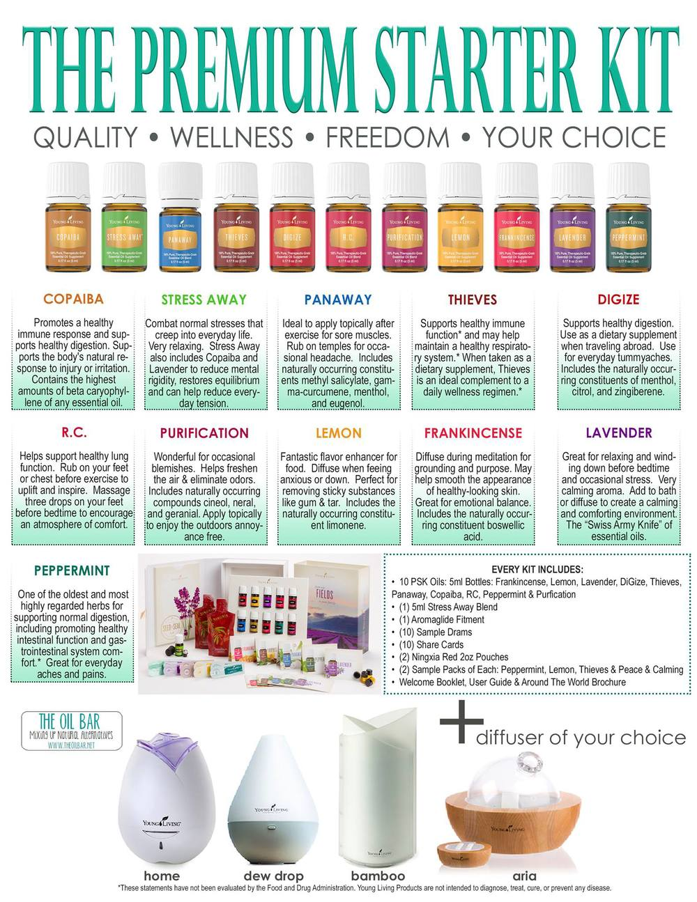 "THIS PREMIUM STARTER KIT CAN BE PURCHASED AT A REDUCED PRICE WHEN YOU CHOOSE TO BE A WHOLESALE CUSTOMER ONLY. IT INCLUDES THE ""EVERYDAY OIL COLLECTION"" AND CAN BE USED FOR RELAXATION, SUPPORTING POSITIVE MOODS SUCH AS DECREASING ANXIETY, STRESS, AND WINDING DOWN FOR BEDTIME + IT ALSO SUPPORTS A HEALTHY IMMUNE SYSTEM & RESPIRATIORY SYSTEM, DIGESTIVE SYSTEM & LUNG FUNCTION + SOOTHS SORE MUSCLES + IMPROVE SKIN BLEMISHES AND TENSION HEADACHES, + ENHANCES FOOD.   YOU WILL GET 10 OILS + 1 BONUS OIL, 10 SAMPLE OILS AND !0 DESCRIPTION CARDS +  A DIFFUSER.  THIS IS A $400 VALUE FOR ONLY $150 THROUGH THE BLUE BUTTONS."