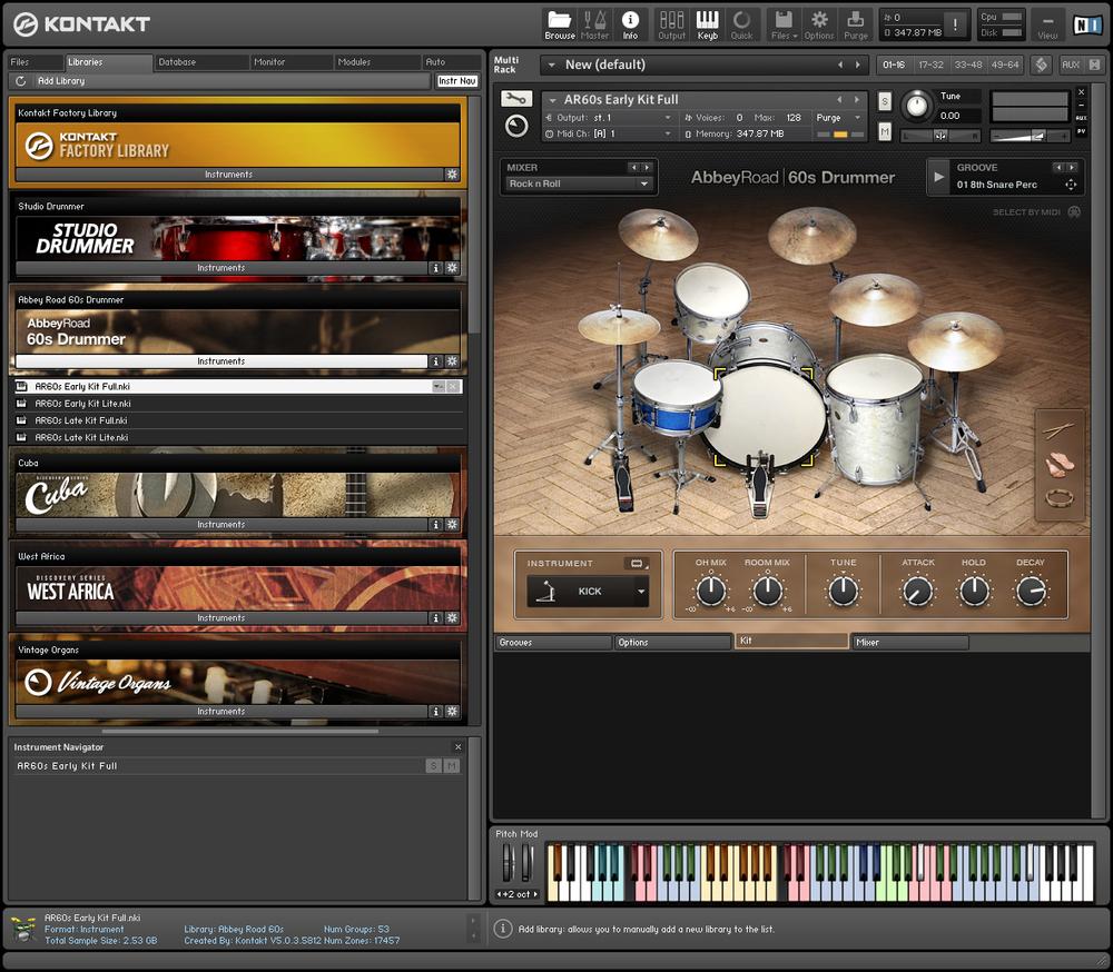 Kontakt sampler and Abbey Road 60s Drummer software.