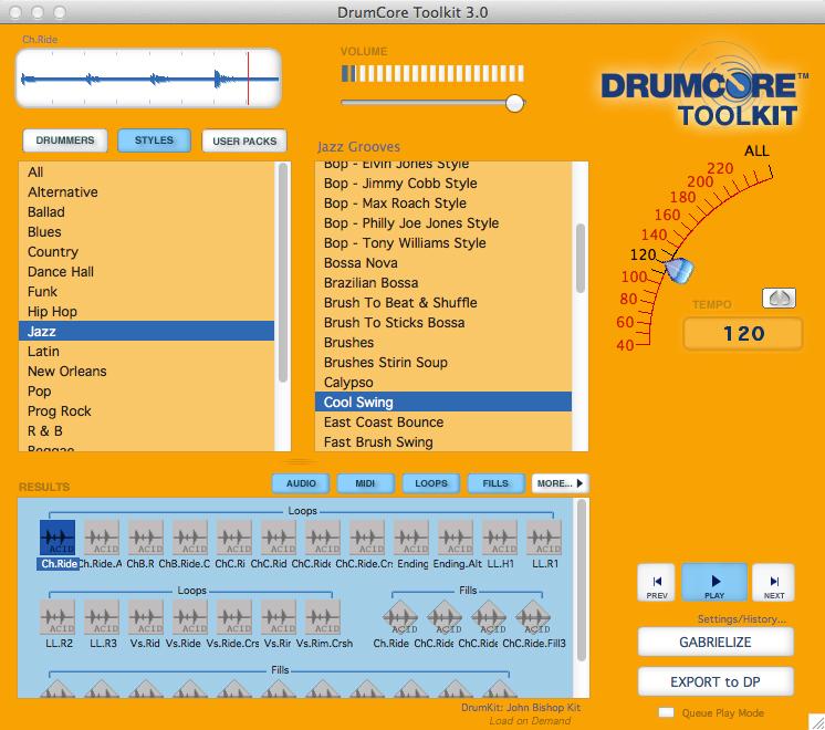 DrumCore drum loop software.