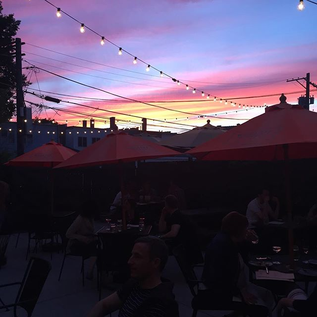 Beautiful sunset over our patio tonight! Stop by for dinner and drinks on a wonderful evening.