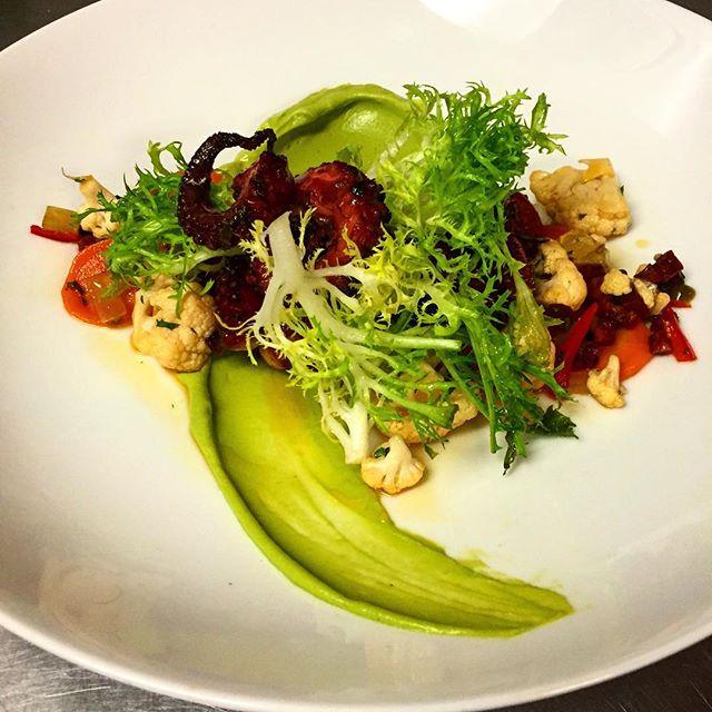 Octopus: chorizo| giardiniera | avocado purée | frisée