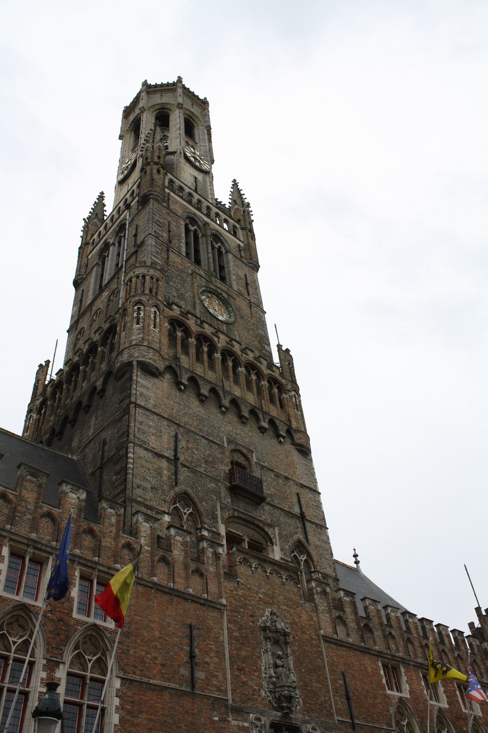 The Belfry, in the center of town. I didn't see Mad Eye Moody on it (see In Bruges!).