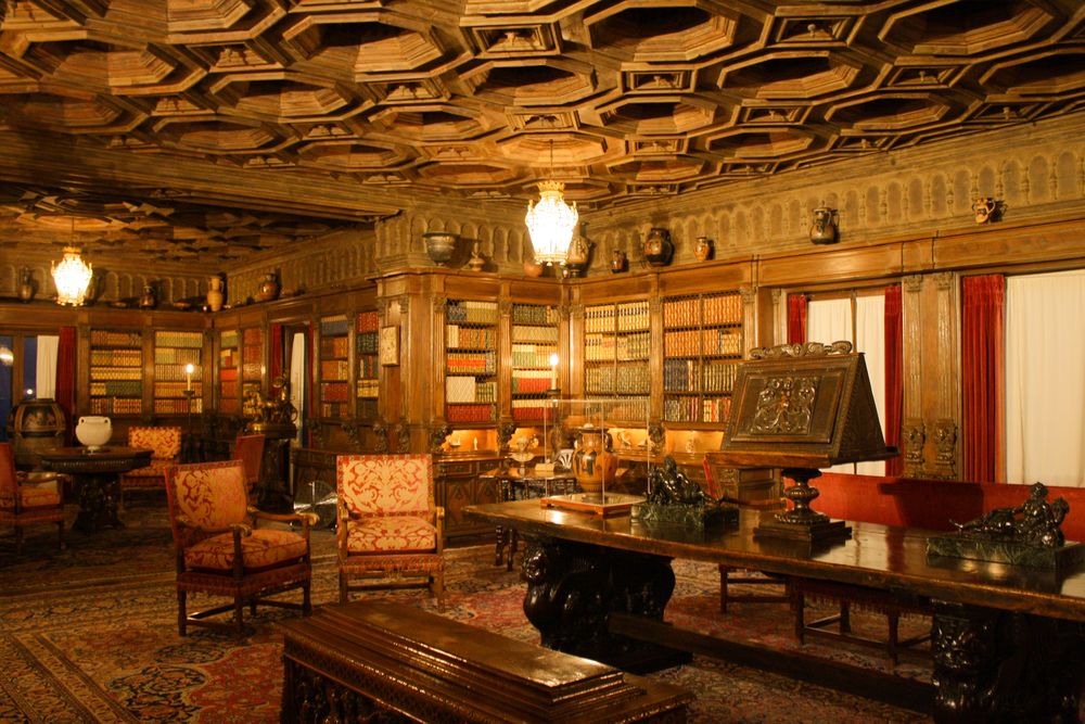 The personal library. Take note of the original ancient Greek vases along the shelves. Pretty ballsy for an earthquake-prone state!