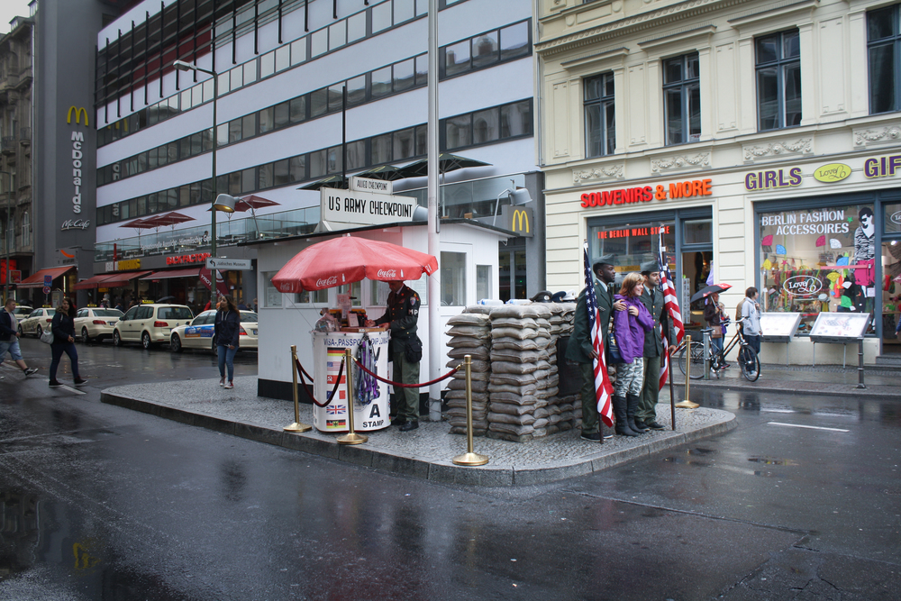Checkpoint Charlie today, complete with actors playing American soldiers. No photos with them though; Anything to avoid a tip.