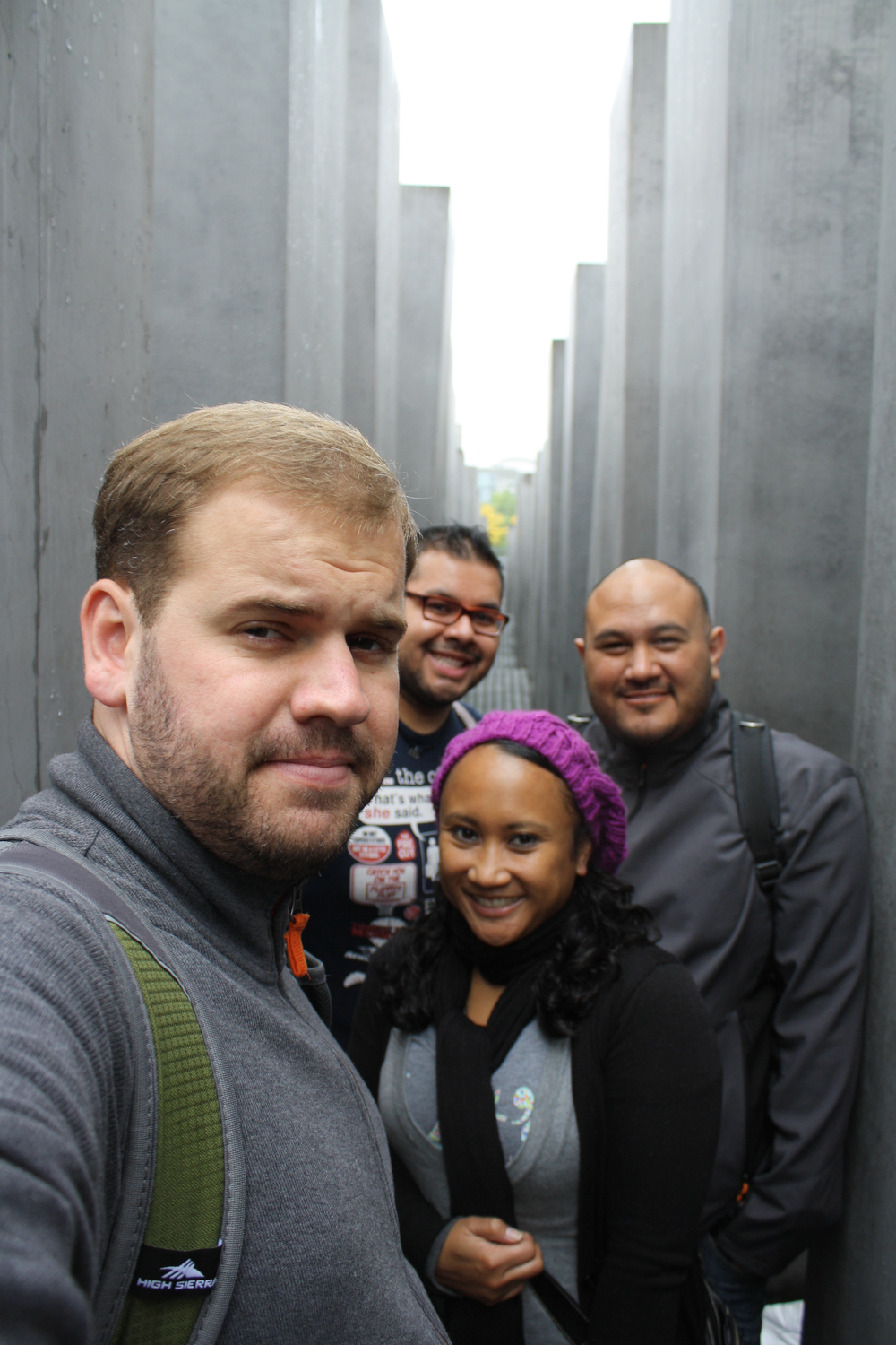 Clearly we don't know how to pose in a holocaust memorial.