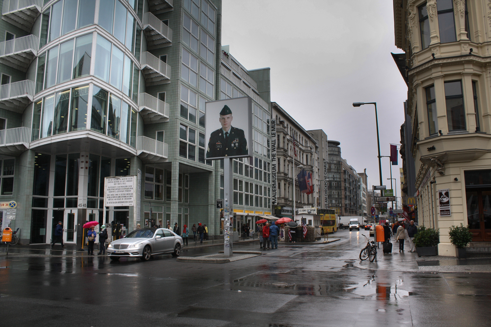 Though the Brandenburg Gate had a gift shop  inside  of it, Checkpoint Charlie felt even more awkwardly touristy.