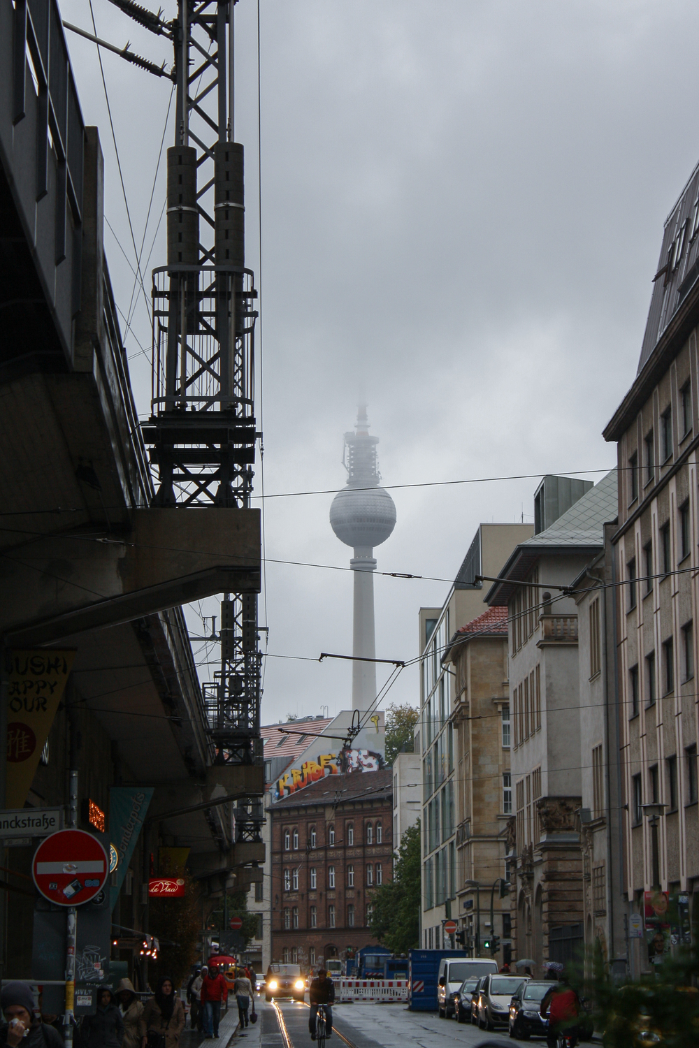 The Fernsehturm TV tower, hiding in the clouds.
