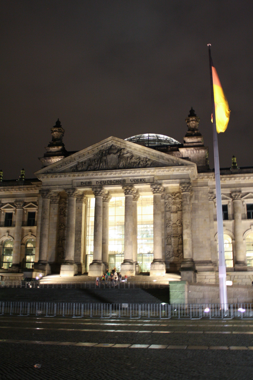 We also walked by the  Reichstag , where the German parliament assembles. I love the contrast of the older, columnar design upgraded with a modern glass dome.