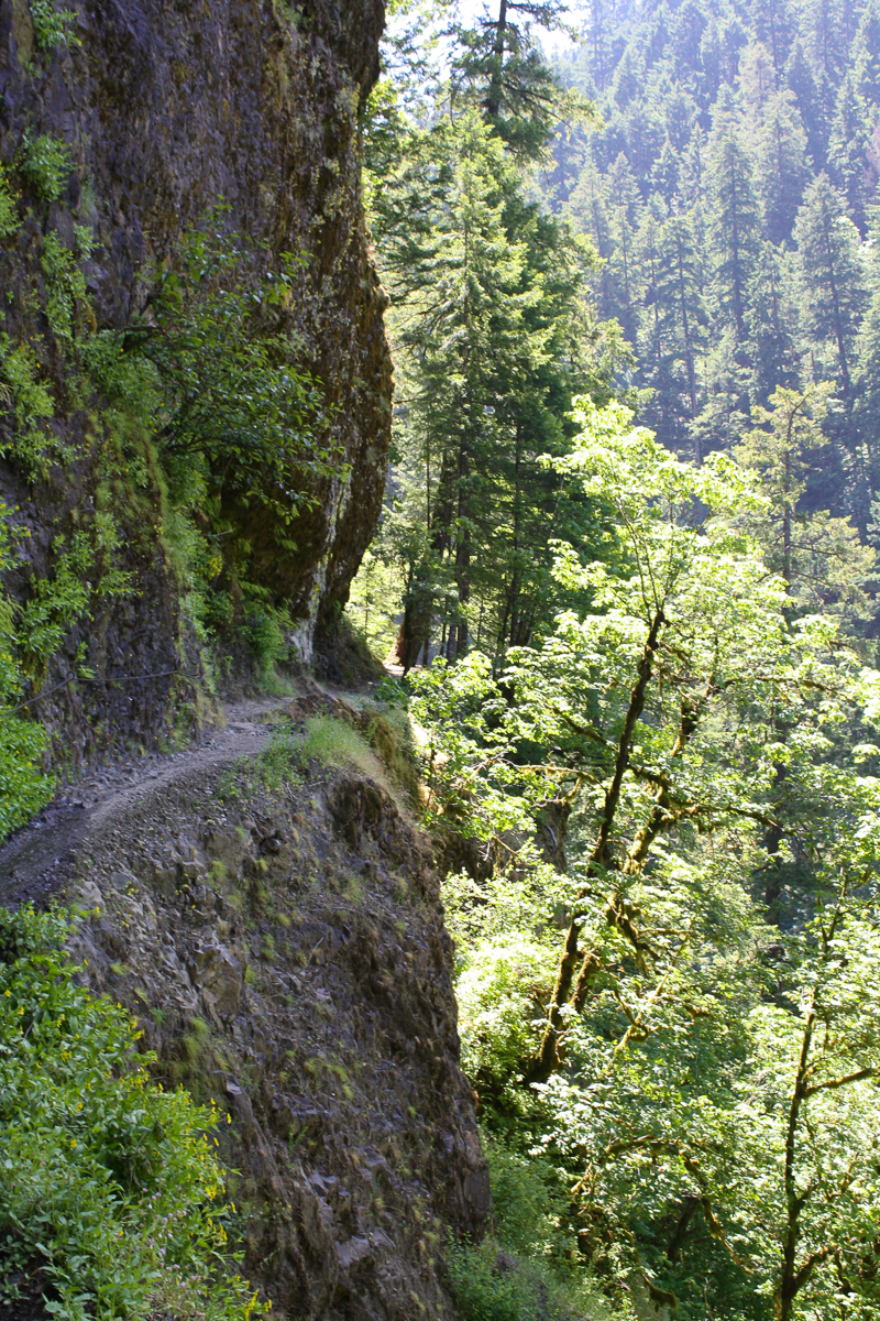 The trail was really wonderful! It had been blasted into the sides of the canyon walls. Droplets of water would trickle down the walls above the trail, creating moss forests and a cool mist.