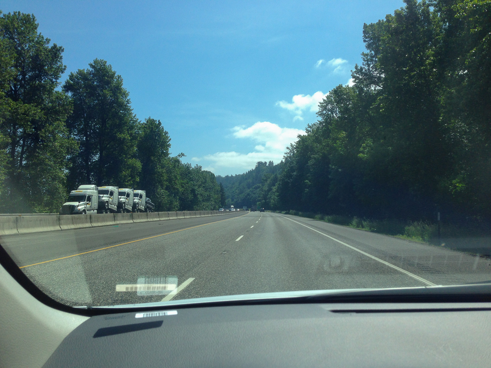 On the I-84 from Portland. Pay no attention to the big rig-sexy party, on the other side.