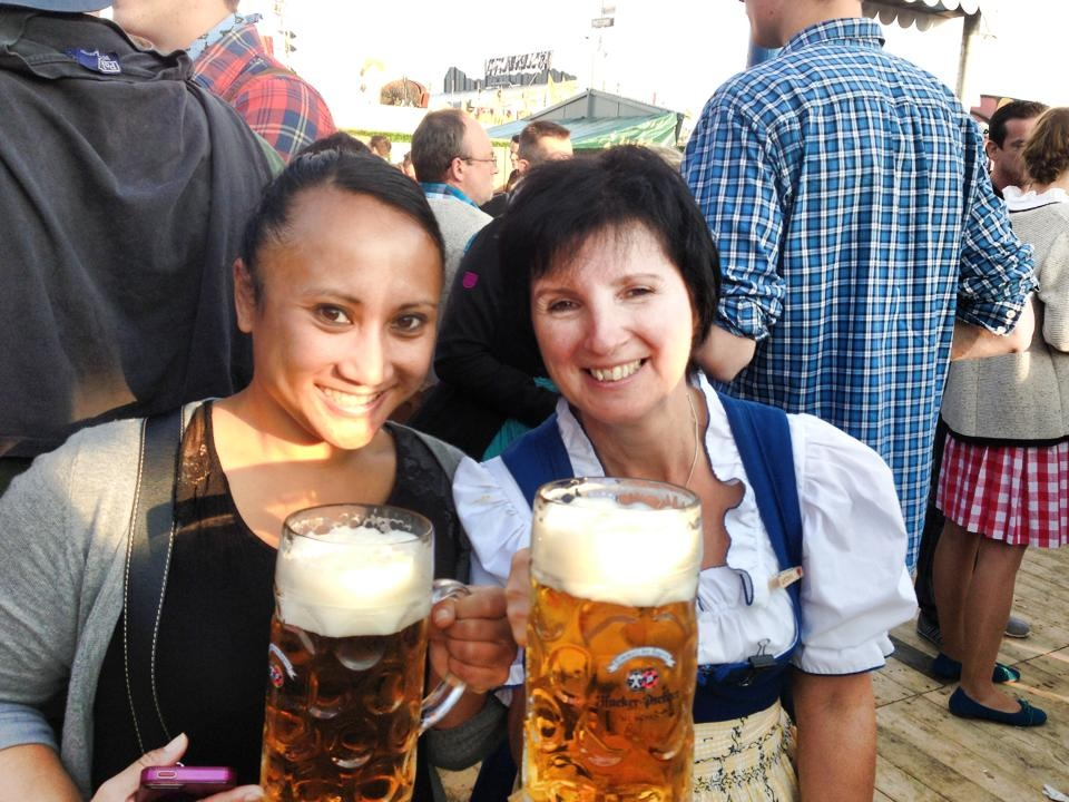 Cindy and the dirndl-wearing waitress who they found to get beer from.