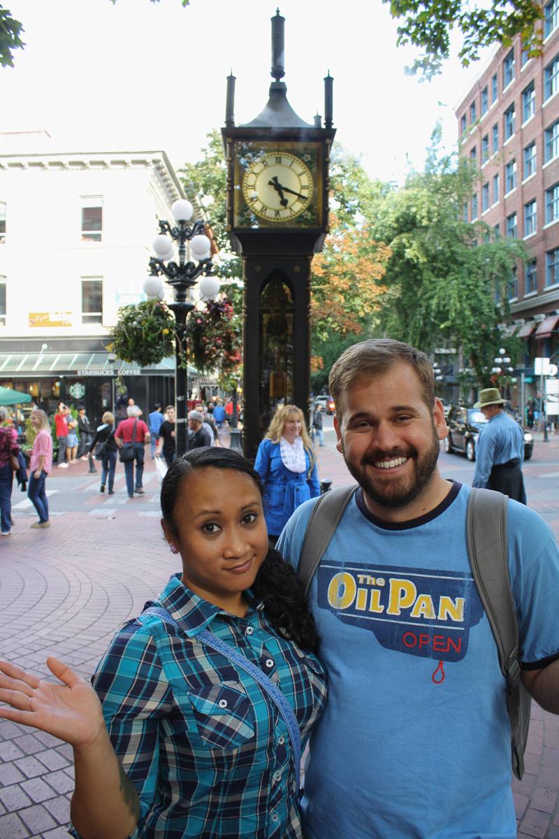 Cindy and I with the Gastown Steam Clock. We're clearly aware that we are only taking a picture because everyone else is!