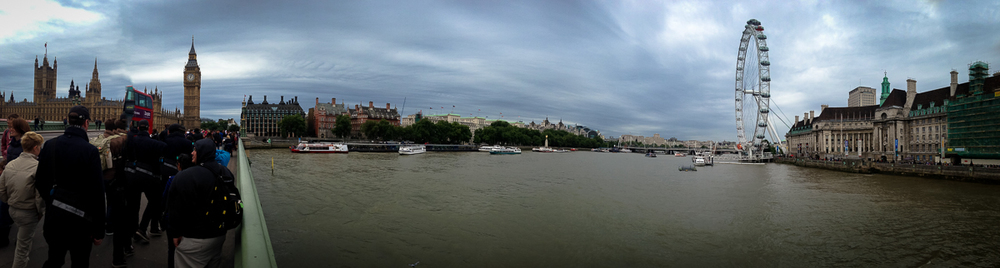 The London skyline from on the Westminster Bridge.