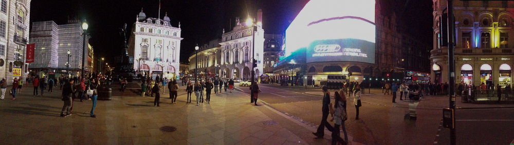 Piccadilly Circus...nighttime lighting is not great for cell phone panoramas!