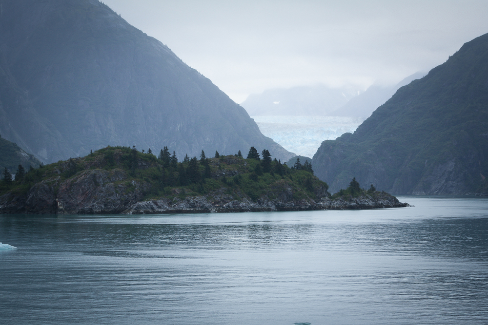 The mass below is Sawyer Island, with the Sawyer Glacier in the background.