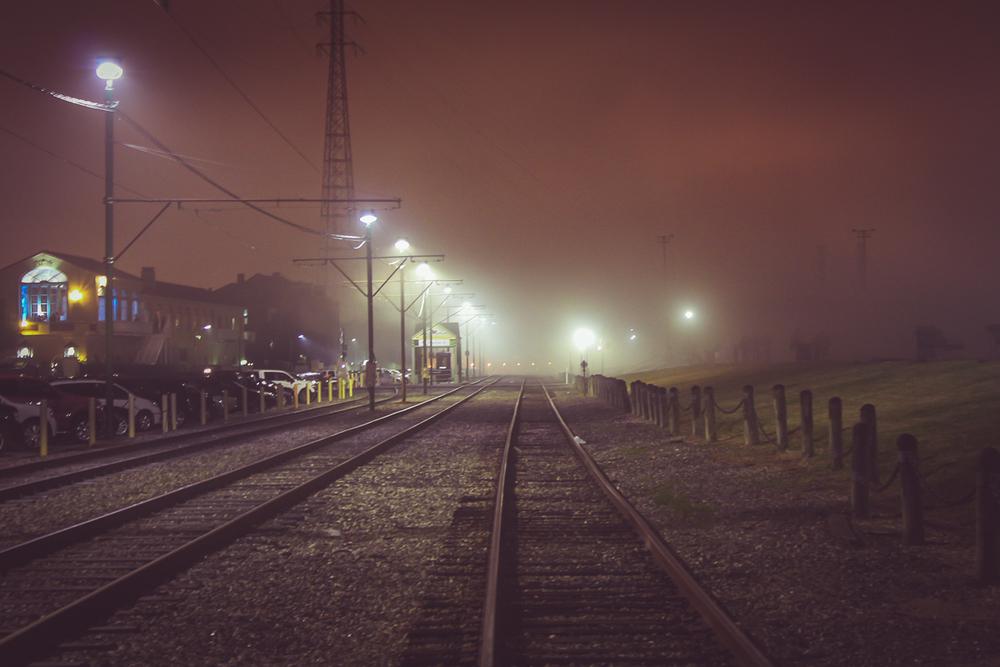Train tracks looked eerie in the fog! No wonder people believe the city is haunted!