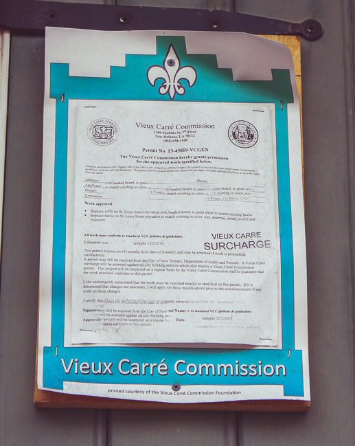 We actually saw a Vieux Carre' Commission permit for a few grand in remodeling work.