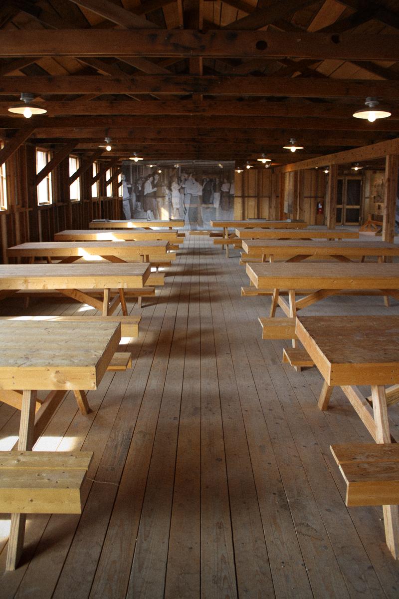Inside the mess hall at Manzanar.