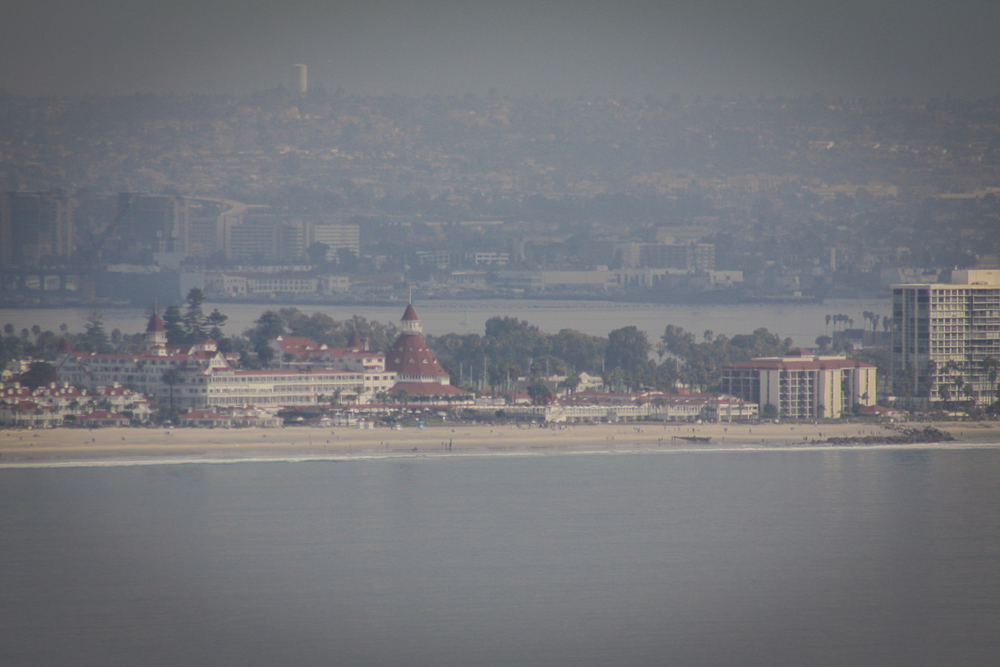 The Hotel Del Coronado from Point Loma.