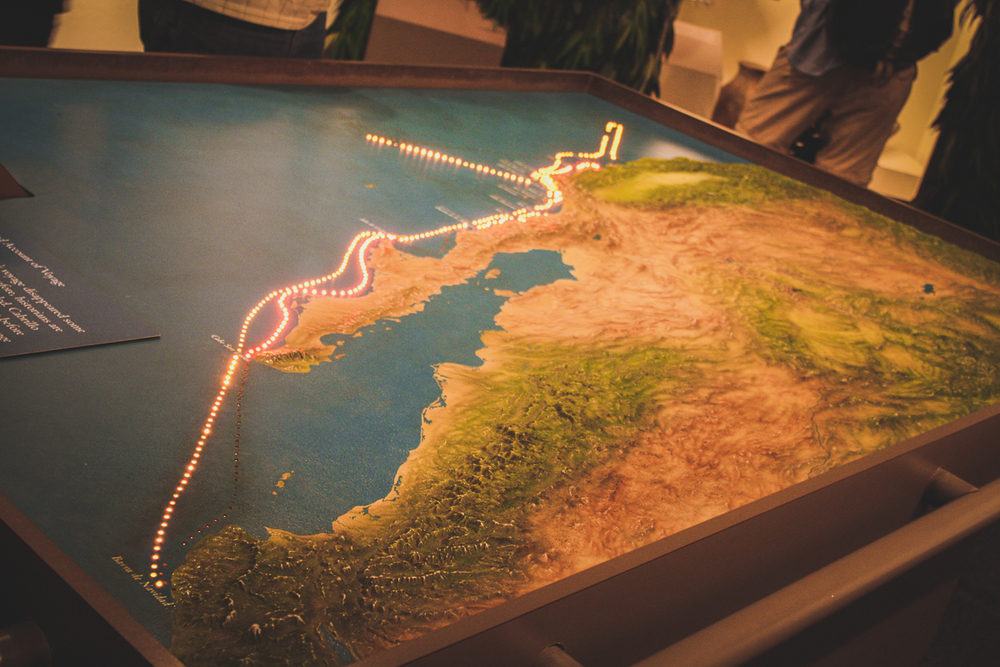 A light-up map of the various Spanish expeditions up the Californian coast.
