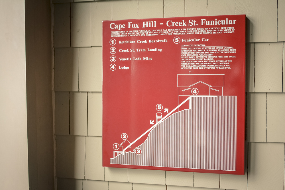 A side-profile sign of the funicular we took.