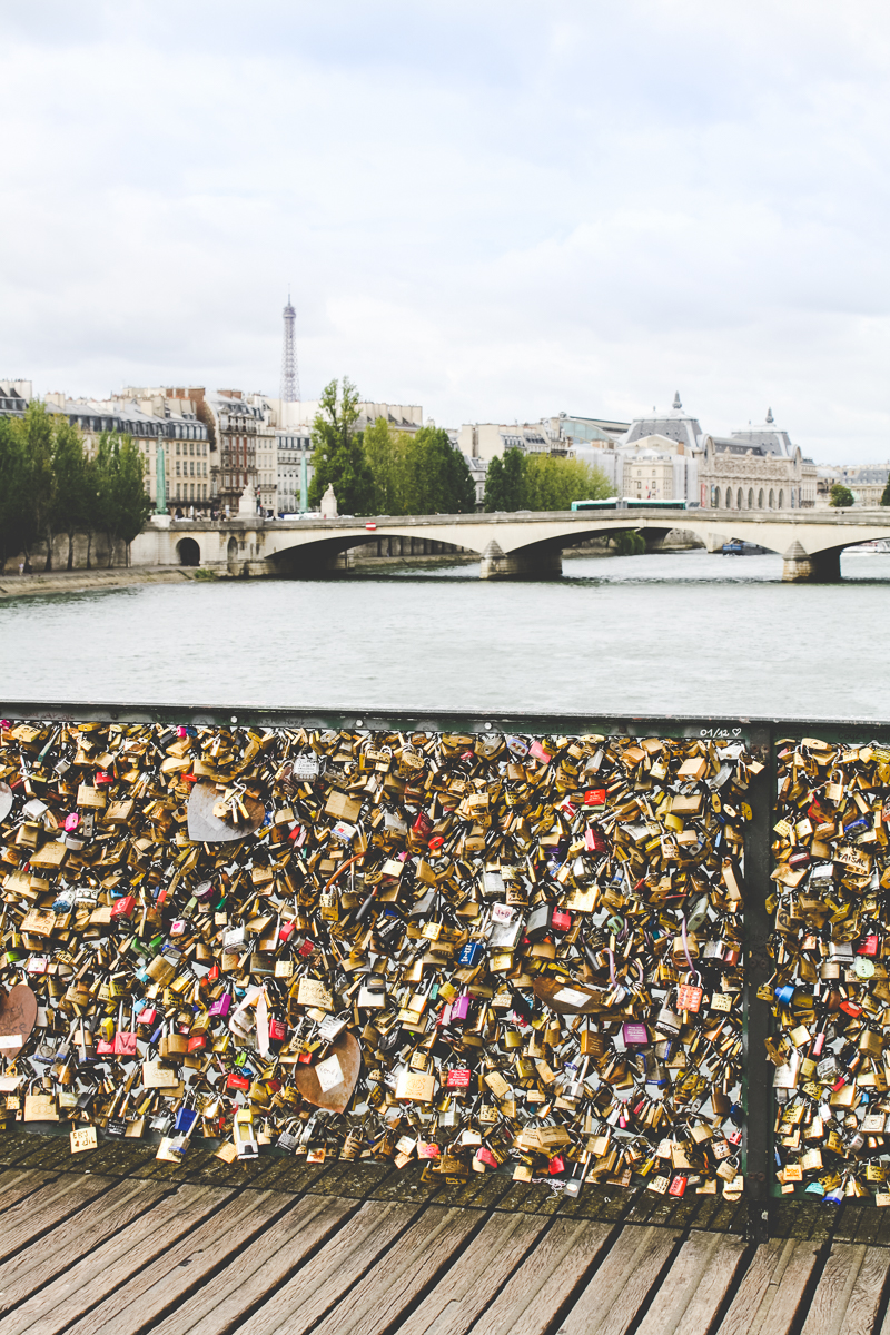 Love locks on the Pont des Artes bridge.