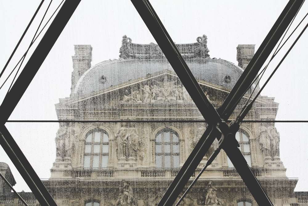 It sprinkled a bit while we were in the Louvre.