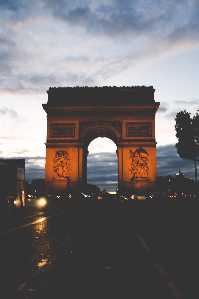 One last of Arc de Triomphe as the sun sets.