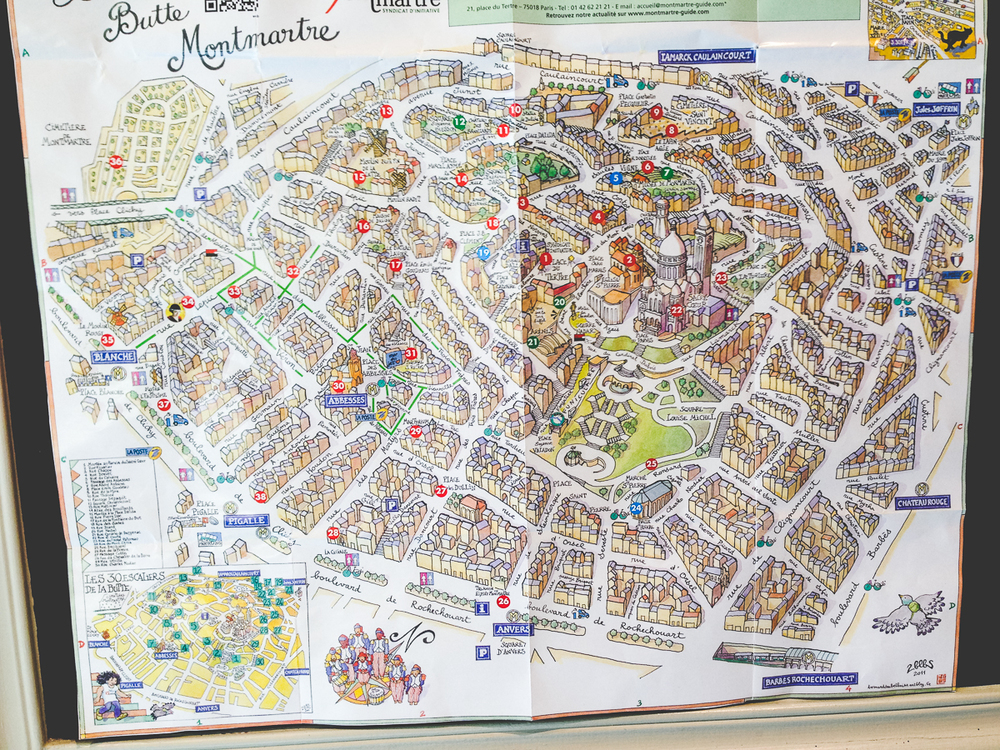 I took this photo of a map of Montmartre so I wouldn't have to buy a map of Montmartre. #youwouldntstealacar