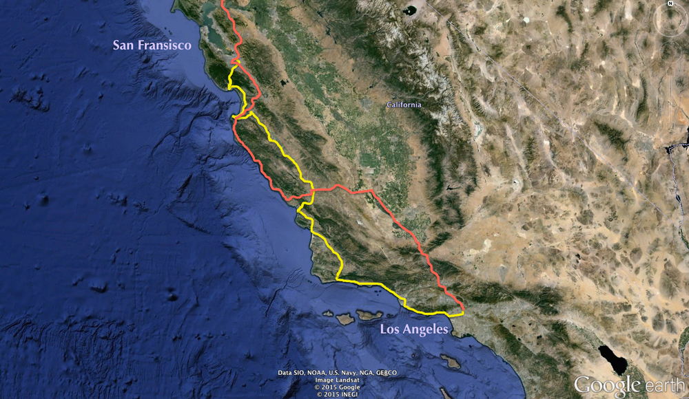 On this trip, we drove north along the yellow route. You can see the moment that we had to bypass Big Sur, leaving the coast for an inland route.
