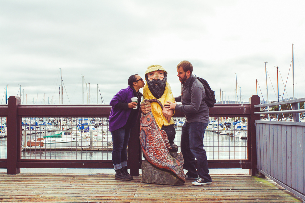 It's now the next day in Monterey and I am jealous of Mr. Fisherman Statue.