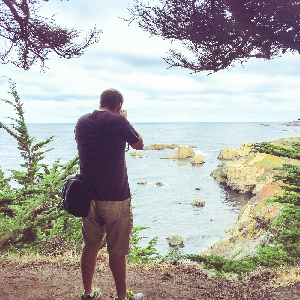 "A ""behind the scenes"" POV of taking photos at Garrapata State Park."